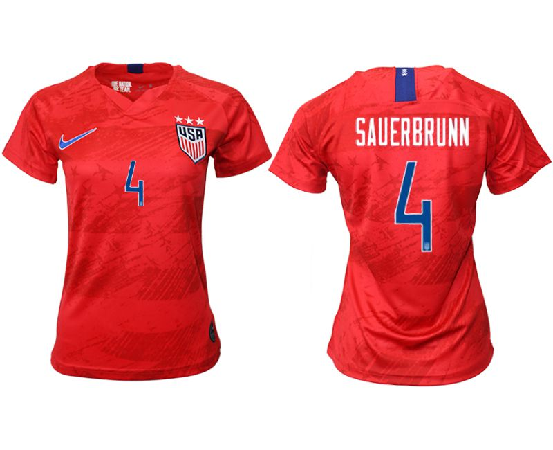 Women 2019-2020 Season National Team America away aaa 4 red Soccer Jerseys