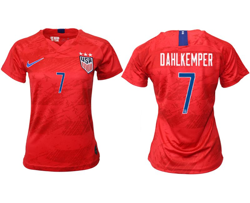 Women 2019-2020 Season National Team America away aaa 7 red Soccer Jerseys