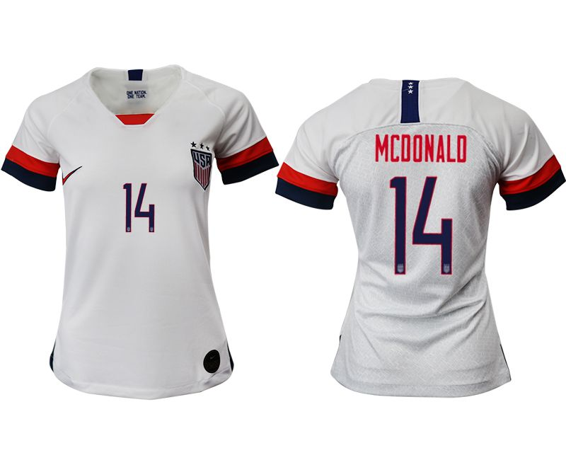 Women 2019-2020 Season National Team America home aaa 14 white Soccer Jerseys