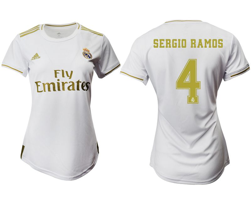 Women 2019-2020 club Real Madrid home aaa version 4 white Soccer Jerseys