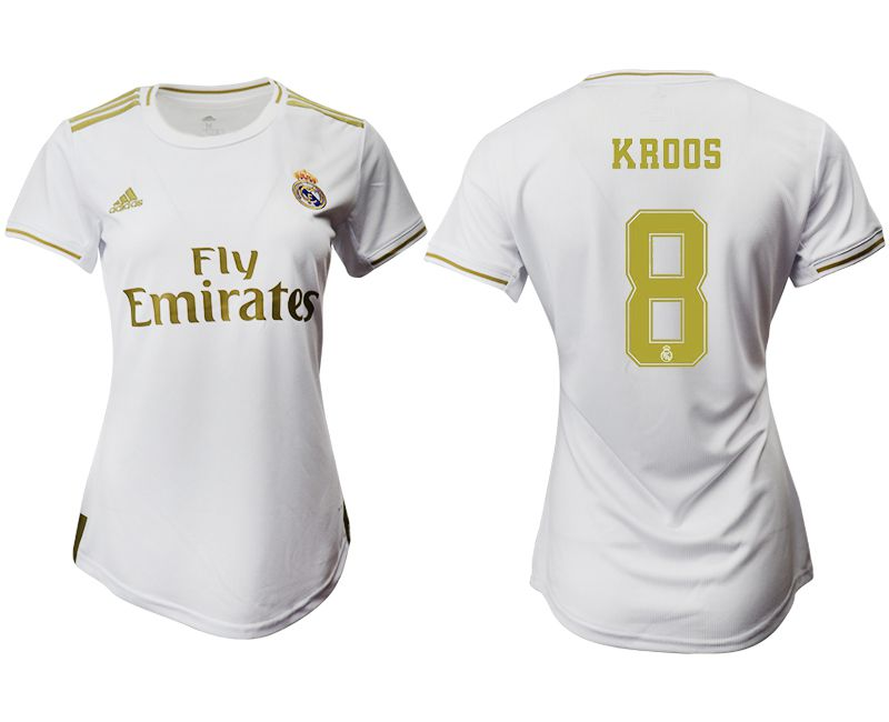 Women 2019-2020 club Real Madrid home aaa version 8 white Soccer Jerseys