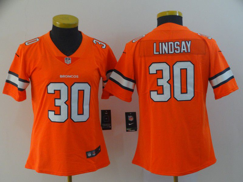 Women Denver Broncos 30 Lindsay Orange Nike Vapor Untouchable Limited Playey NFL Jerseys