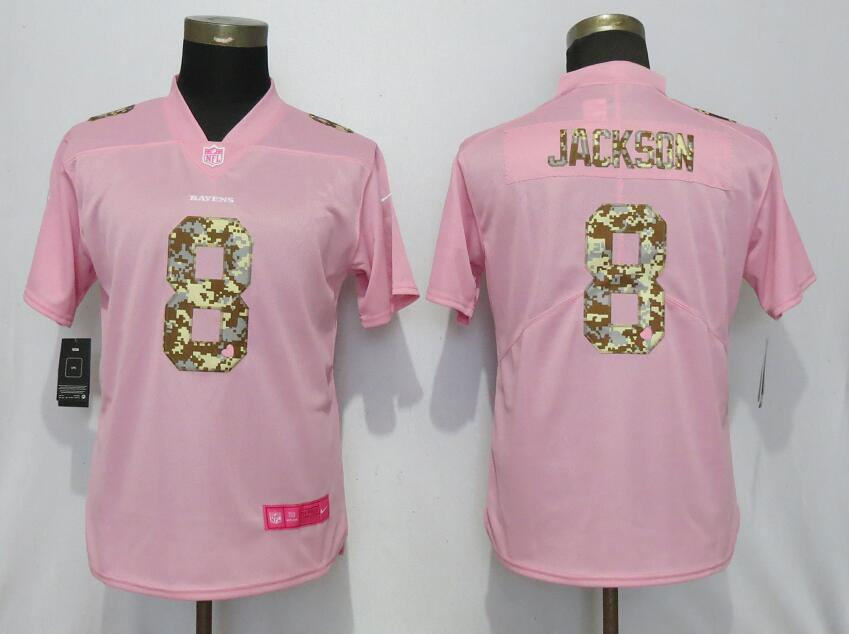 Women New Nike Baltimore Ravens 8 Jackson Pink Camouflage font love pink 2019 Vapor Untouchable Elite jerseys