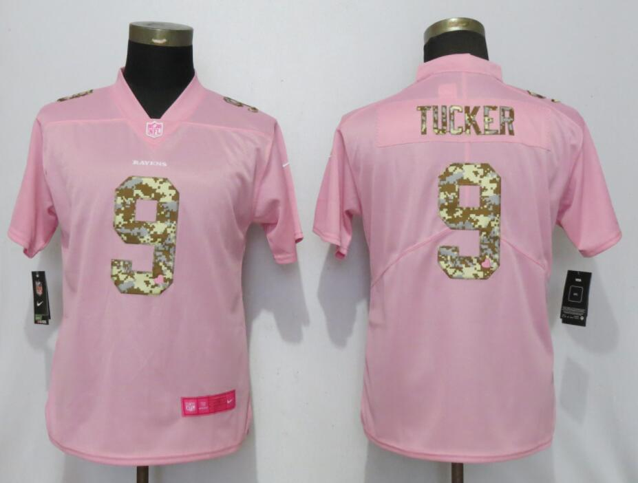 Women New Nike Baltimore Ravens 9 Tucker Pink Camouflage font love pink 2019 Vapor Untouchable Elite jerseys