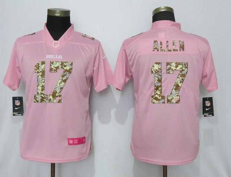 Women New Nike Buffalo Bills 17 Allen Pink Camouflage font love pink 2019 Vapor Untouchable Elite jerseys