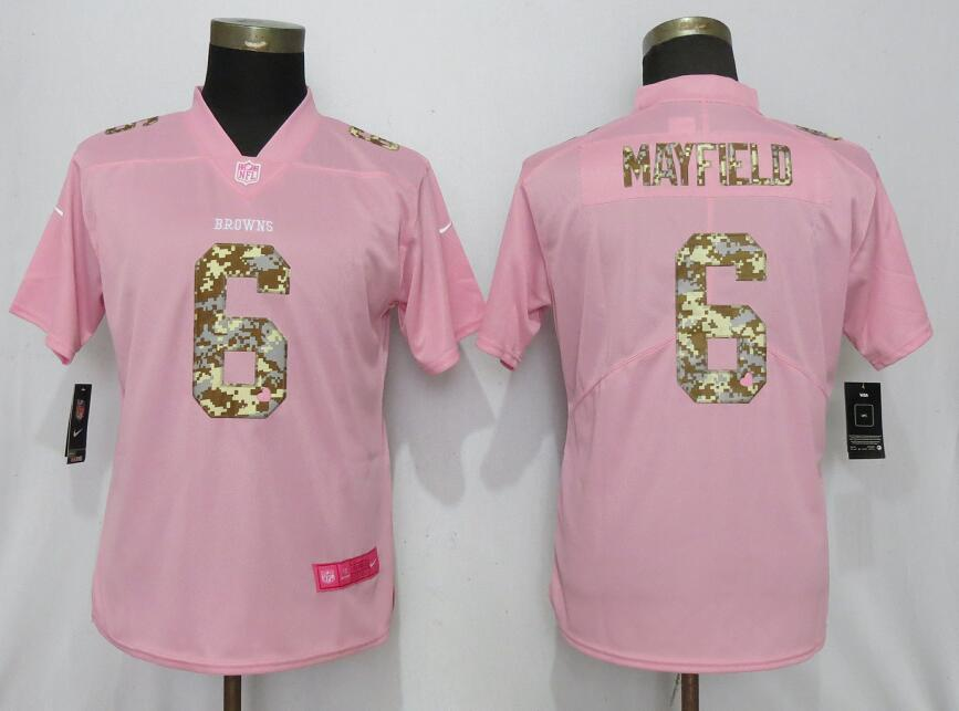 Women New Nike Cleveland Browns 6 Mayfield Pink Camouflage font love pink 2019 Vapor Untouchable Elite jerseys
