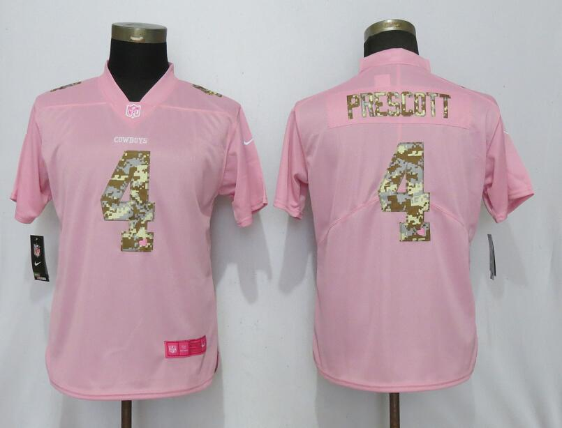Women New Nike Dallas Cowboys 4 Prescott Pink Camouflage font love pink 2019 Vapor Untouchable Elite jerseys