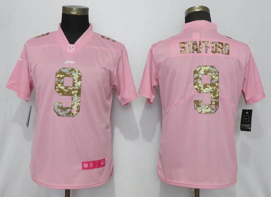 Women New Nike Detroit Lions 9 Stafford Pink Camouflage font love pink 2019 Vapor Untouchable Elite jerseys