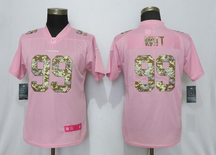 Women New Nike Houston Texans 99 Watt Pink Camouflage font love pink 2019 Vapor Untouchable Elite jerseys