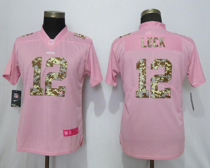 Women New Nike Indianapolis Colts 12 Luck Pink Camouflage font love pink 2019 Vapor Untouchable Elite jerseys