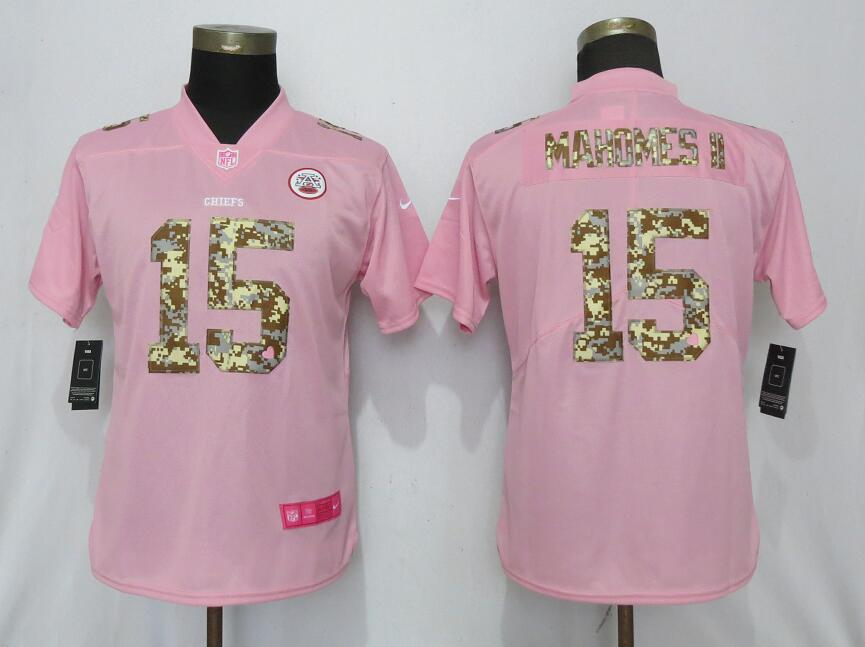 Women New Nike Kansas City Chiefs 15 Mahomes ll Pink Camouflage font love pink 2019 Vapor Untouchable Elite jerseys