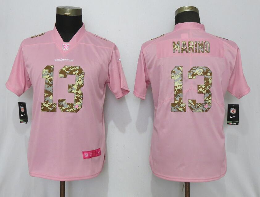 Women New Nike Miami Dolphins 13 Marino Pink Camouflage font love pink 2019 Vapor Untouchable Elite jerseys