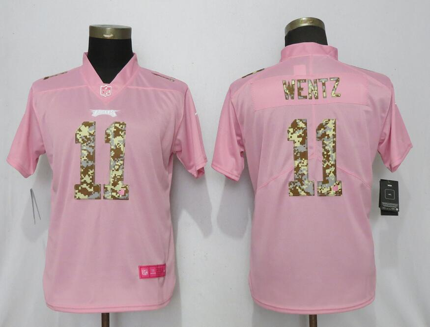 Women New Nike Philadelphia Eagles 11 Wentz Pink Camouflage font love pink 2019 Vapor Untouchable Elite jerseys