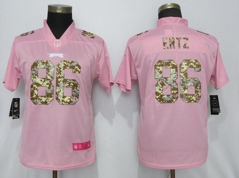 Women New Nike Philadelphia Eagles 86 Ertz Pink Camouflage font love pink 2019 Vapor Untouchable Elite jerseys