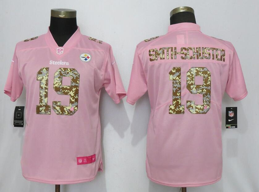 Women New Nike Pittsburgh Steelers 19 Smith-schuster Pink Camouflage font love pink 2019 Vapor Untouchable Elite jerseys