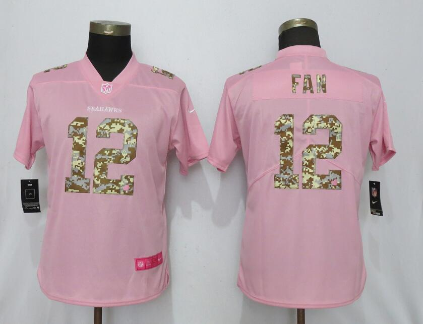 Women New Nike Seattle Seahawks 12 Fan Pink Camouflage font love pink 2019 Vapor Untouchable Elite jerseys
