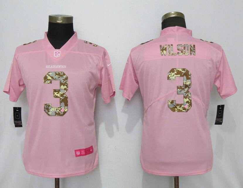 Women New Nike Seattle Seahawks 3 Wilson Pink Camouflage font love pink 2019 Vapor Untouchable Elite jerseys