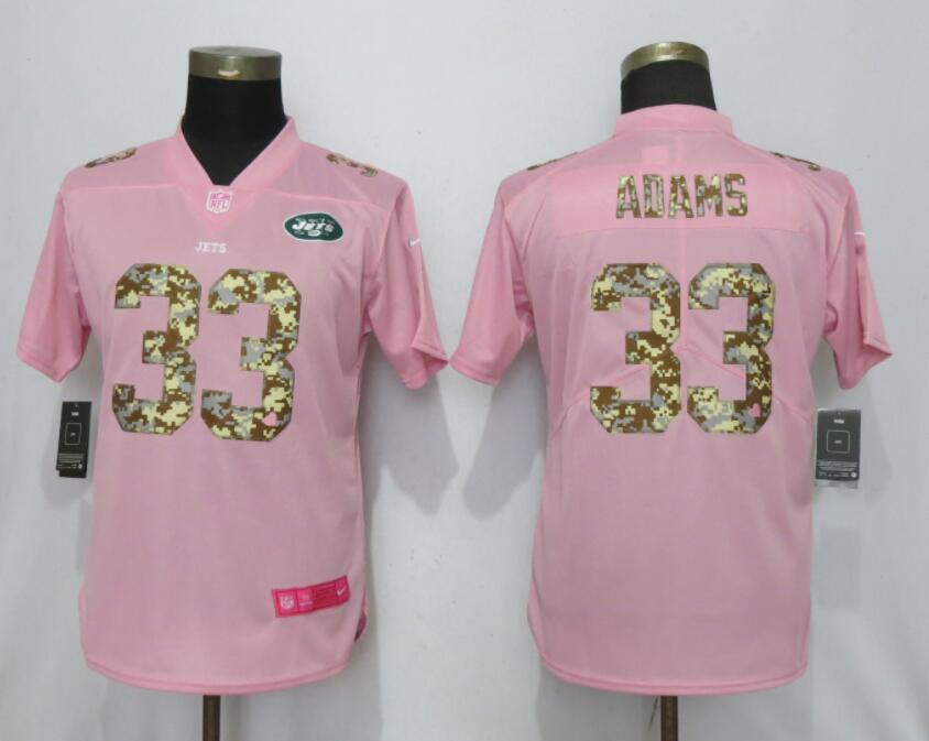 Women New Nike York Jets 33 Adams Pink Camouflage font love pink 2019 Vapor Untouchable Elite jerseys