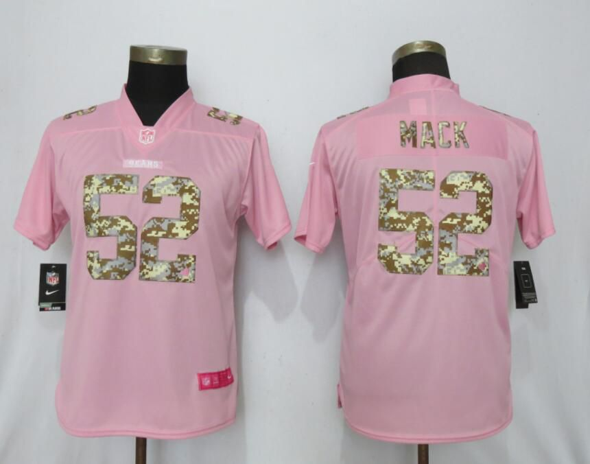 Women Nike Chicago Bears 52 Mack Pink Camouflage font love pink 2019 Vapor Untouchable Elite jerseys