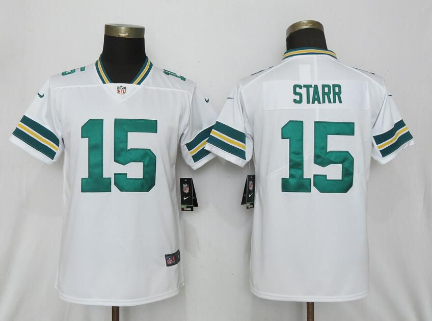 Women Nike Green Bay Packers 15 Starr White 2017 Vapor Untouchable Elite jerseys
