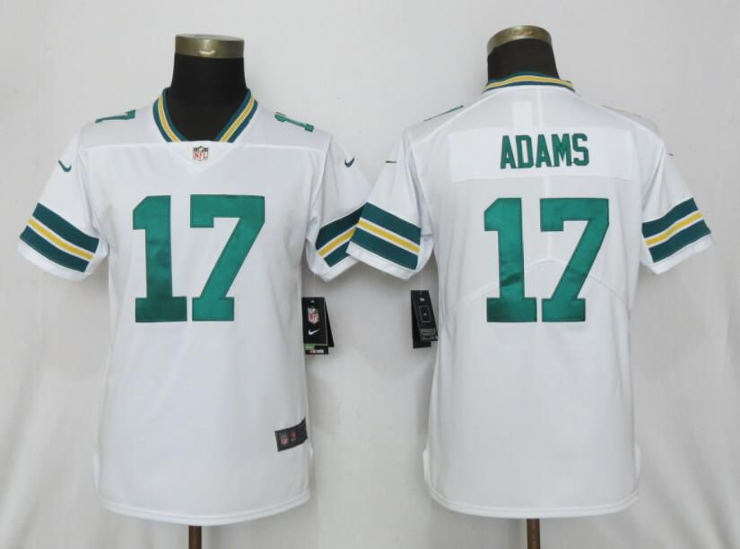 Women Nike Green Bay Packers 17 Adams White 2017 Vapor Untouchable Elite jerseys