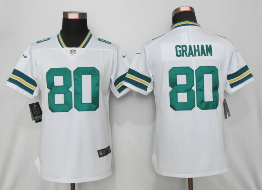 Women Nike Green Bay Packers 80 Graham White 2017 Vapor Untouchable Elite jerseys