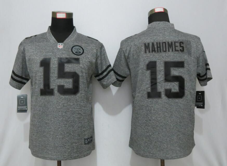 Women Nike Kansas City Chiefs 15 Mahomes Gray 2019 Vapor Untouchable Stitched Gridiron Gray Limited jerseys
