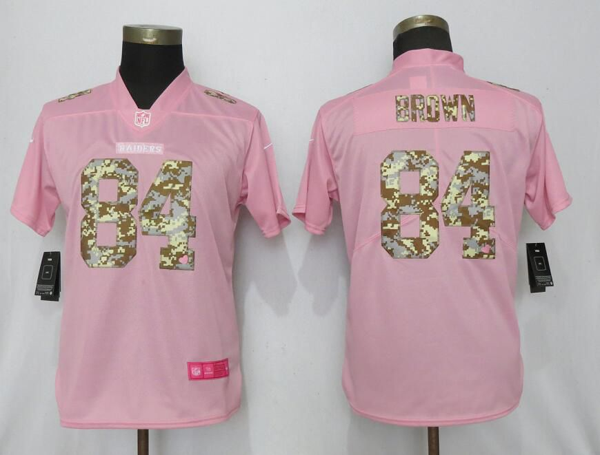 Women Nike Oakland Raiders 84 Brown Pink Camouflage font love pink 2019 Vapor Untouchable Elite jerseys