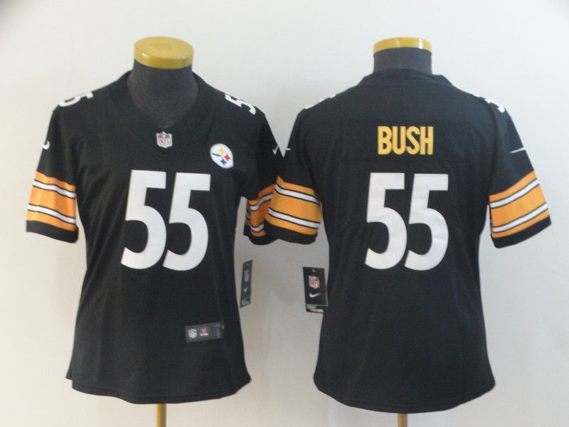 Women Pittsburgh Steelers 55 Bush Black Nike Vapor Untouchable Limited NFL Jerseys