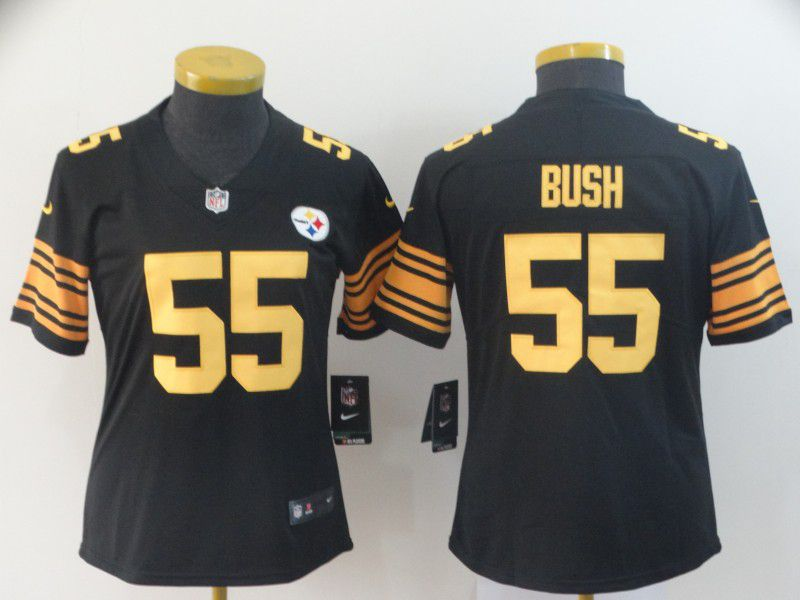 Women Pittsburgh Steelers 55 Bush Black Nike Vapor Untouchable Limited Playey NFL Jerseys