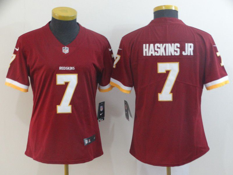 Women Washington Red Skins 7 Haskins Red Nike Vapor Untouchable Limited Player NFL Jerseys
