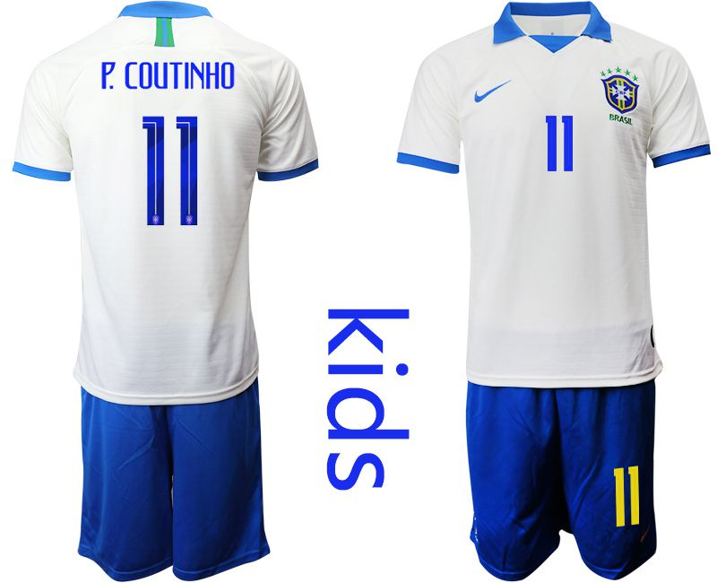 Youth 2019-2020 Season National Team Brazil white special edition 11 Soccer Jerseys