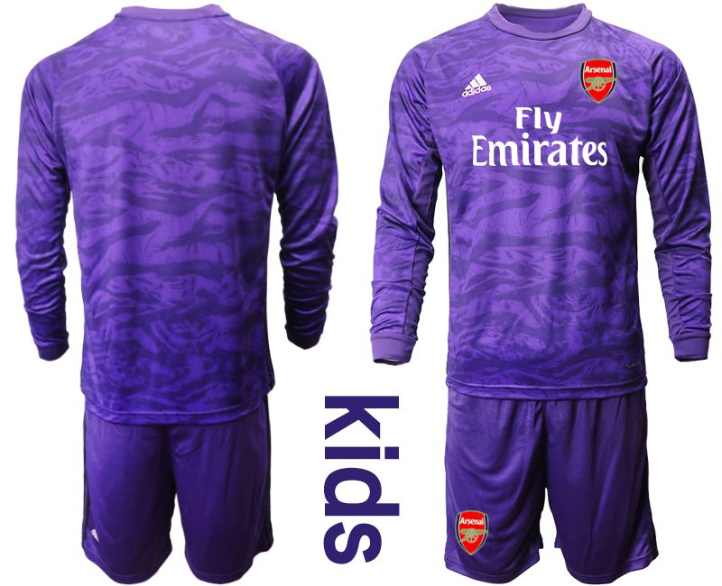 Youth 2019-2020 club Arsenal purple long sleeved Goalkeeper Soccer Jerseys
