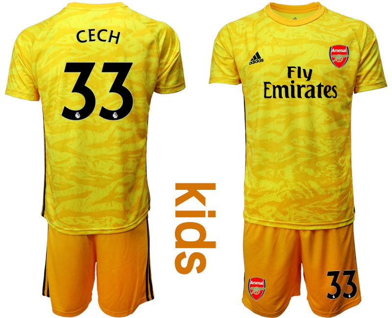 Youth 2019-2020 club Arsenal yellow goalkeeper 33 Soccer Jerseys