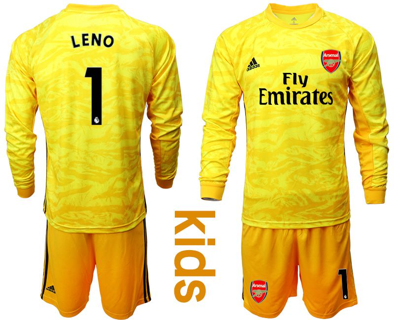 Youth 2019-2020 club Arsenal yellow goalkeeper long sleeve 1 Soccer Jerseys