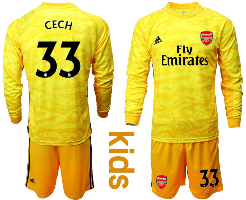Youth 2019-2020 club Arsenal yellow goalkeeper long sleeve 33 Soccer Jerseys