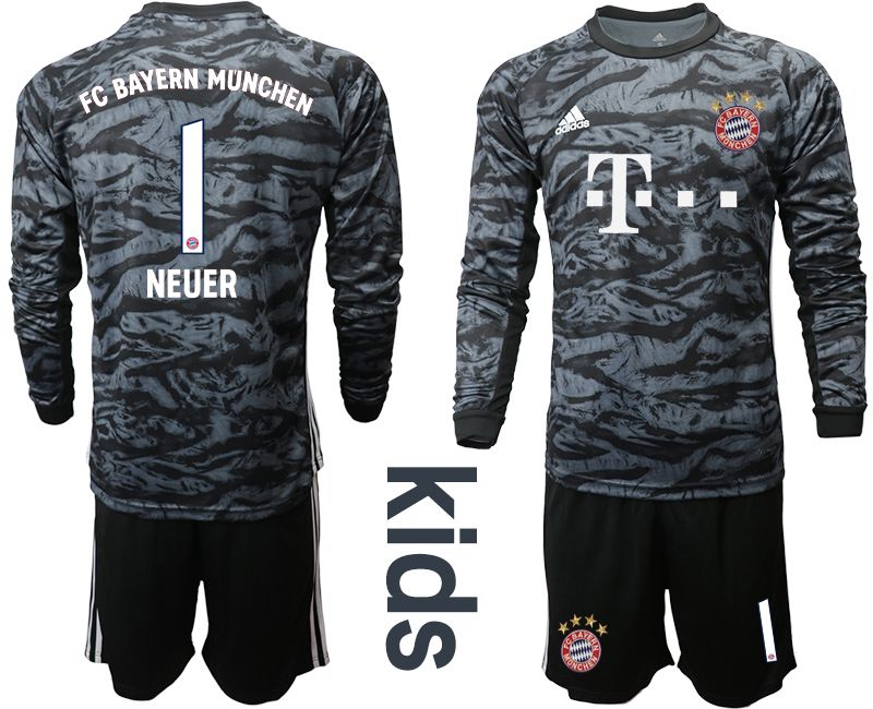 Youth 2019-2020 club Bayern Munich black long sleeve goalkeeper 1 Soccer Jerseys