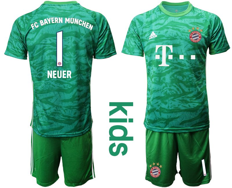 Youth 2019-2020 club Bayern Munich green goalkeeper 1 Soccer Jerseys