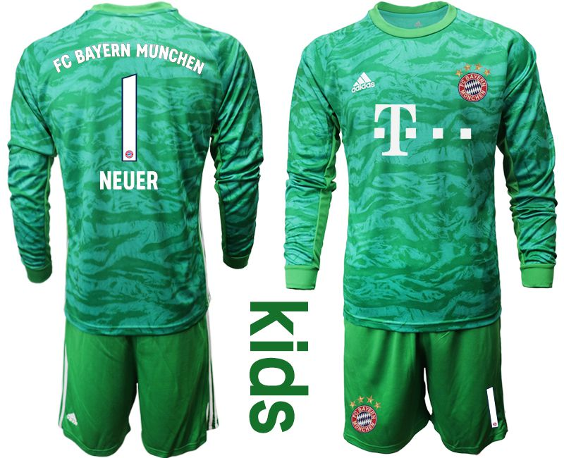 Youth 2019-2020 club Bayern Munich green goalkeeper long sleeve 1 Soccer Jerseys