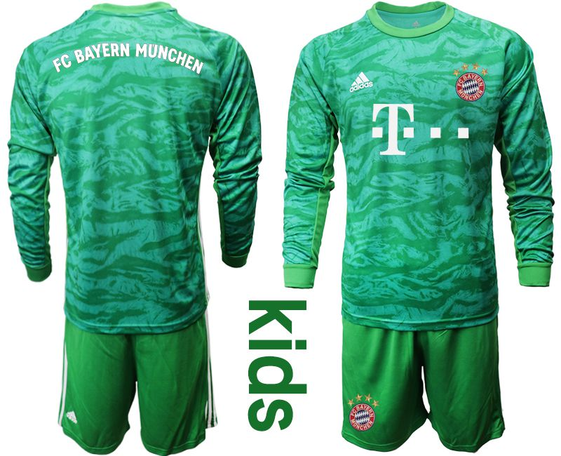 Youth 2019-2020 club Bayern Munich green goalkeeper long sleeve Soccer Jerseys