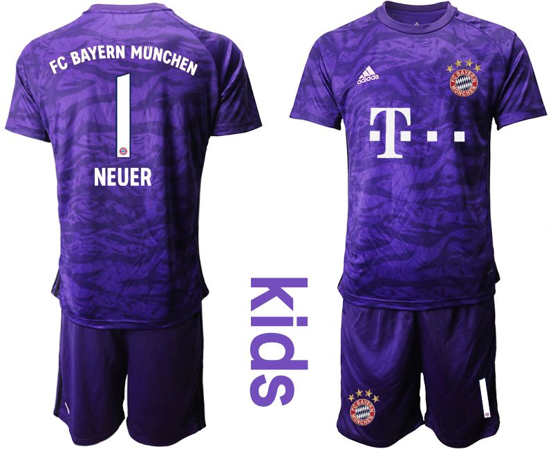 Youth 2019-2020 club Bayern Munich purple goalkeeper 1 Soccer Jerseys