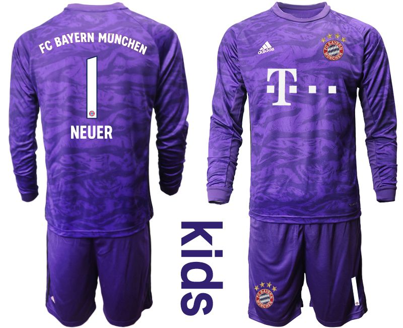 Youth 2019-2020 club Bayern Munich purple long sleeved Goalkeeper 1 Soccer Jerseys
