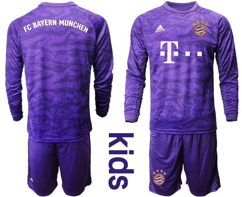 Youth 2019-2020 club Bayern Munich purple long sleeved Goalkeeper Soccer Jerseys