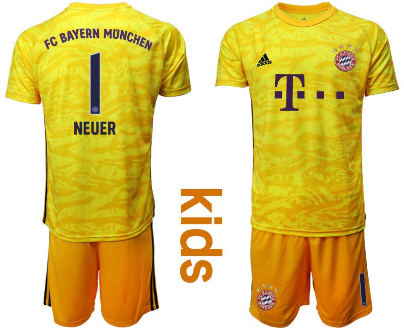 Youth 2019-2020 club Bayern Munich yellow goalkeeper 1 Soccer Jerseys