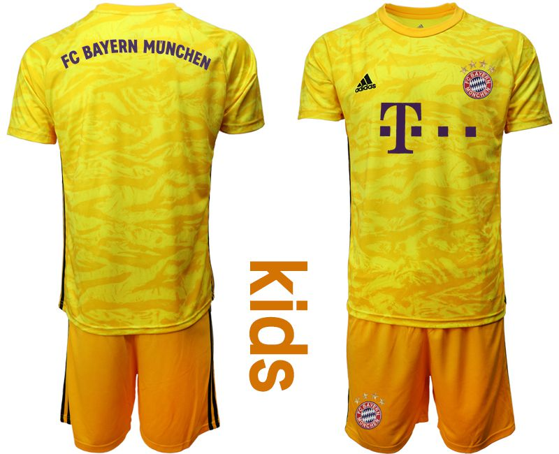 Youth 2019-2020 club Bayern Munich yellow goalkeeper Soccer Jerseys