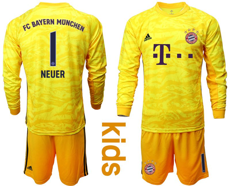Youth 2019-2020 club Bayern Munich yellow goalkeeper long sleeve 1 Soccer Jerseys