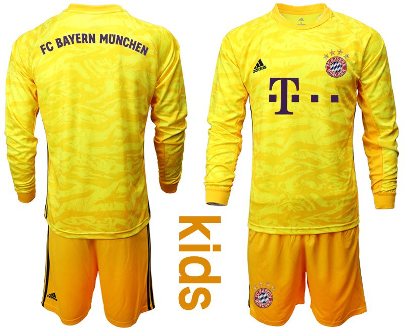 Youth 2019-2020 club Bayern Munich yellow goalkeeper long sleeve Soccer Jerseys