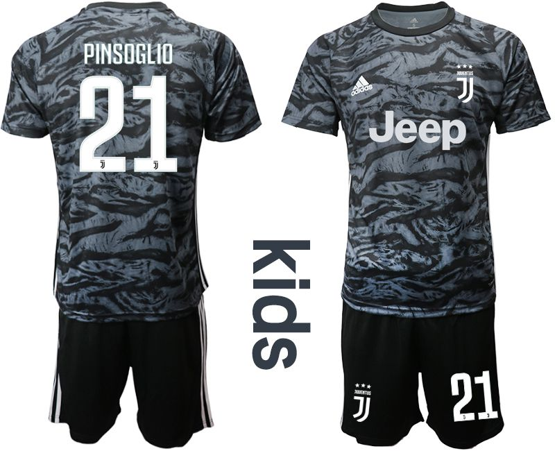 Youth 2019-2020 club Juventus black goalkeeper 21 Soccer Jerseys