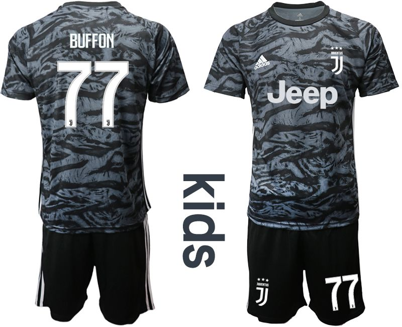 Youth 2019-2020 club Juventus black goalkeeper 77 Soccer Jerseys