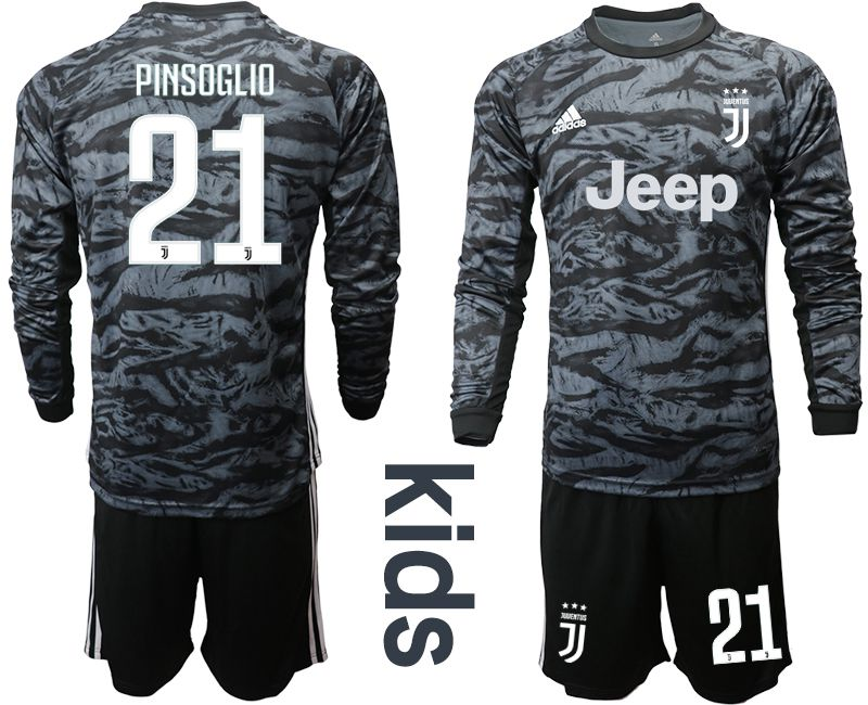 Youth 2019-2020 club Juventus black long sleeve goalkeeper 21 Soccer Jerseys